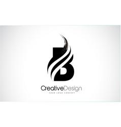 B letter design brush paint stroke vector