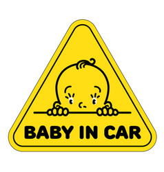 Baby in car sticker funny face of boy or girl vector