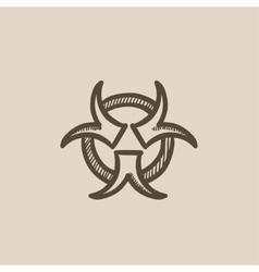 Bio hazard sign sketch icon vector