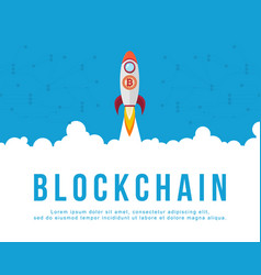 Block chain background with rocket vector