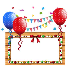 Border template with blue and red balloons vector