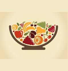 Bowl with fruit vector