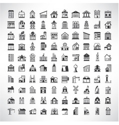 building and landmark icons vector image