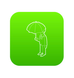 business man with umbrella icon green vector image