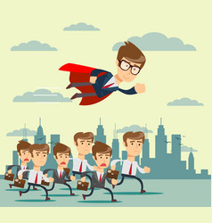 businessman with red cape fly pass his competitor vector image