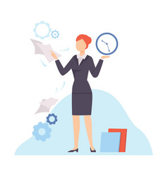 Businesswoman planning and controlling her working vector