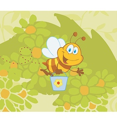 Cartoon bee gathering honey vector image