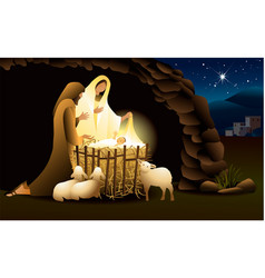 Christmas background with holy family vector