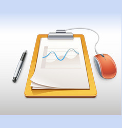 Clipboard with pen and computer mouse vector