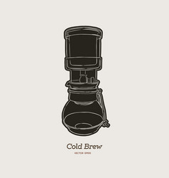 Cold brew coffee maker hand draw vector