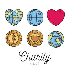 Color image set earth world and coins with heart vector