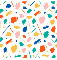 colored brush spots on white background vector image