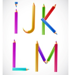 Colorful alphabet pencils i j k l m vector