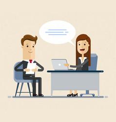 Concept job interview women in flat vector