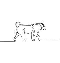 continuous one line drawing of walking dog in vector image