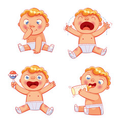 cute baby funny cartoon colorful character vector image