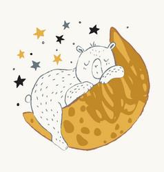 cute little bear sleeping on crescent moon vector image
