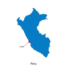 Detailed map of Peru and capital city Lima vector