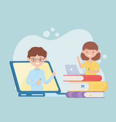 Education online student girl student watching vector