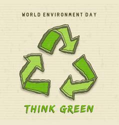 Environment day card green recycle symbol vector