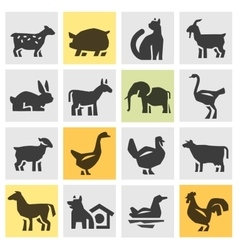 farm animals icons set signs and symbols vector image
