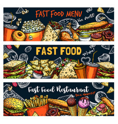 fast food burgers pizza and hot dogs sketch vector image