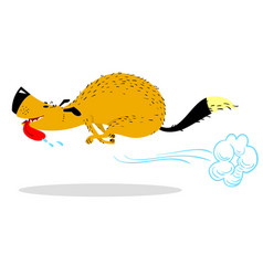 fast running dog cute racing pet cartoon jumping vector image