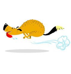Fast running dog cute racing pet cartoon jumping vector