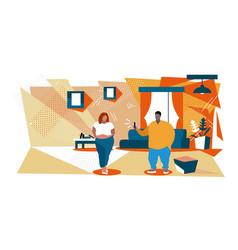 Fat man using smartphone taking photo obese vector