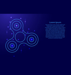 Fidget spinner of blue lines network rays dots vector