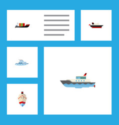 flat icon boat set of cargo tanker sailboat and vector image vector image