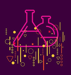 Glass flask on abstract colorful geometric dark vector