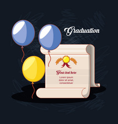 graduation card with diploma icon vector image
