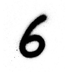 Graffiti sprayed number 6 six in black on white vector