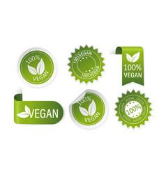 Green natural and vegan stickers and ribbons set vector