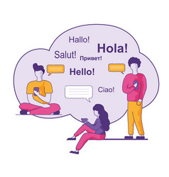greetings in different languages in blue cloud vector image