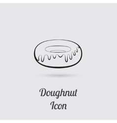 Greyscale Icon of Donut vector image
