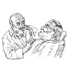 Hairdresser cuts his beard in barber shop vintage vector