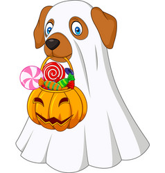 halloween costume dog holding pumpkin bag full can vector image