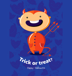 halloween poster trick or treat with devil on vector image
