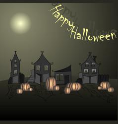 halloween pumpkins and dark castle on blue moon vector image