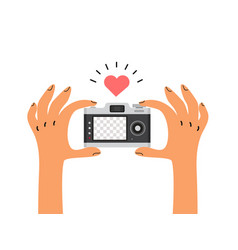 Hand hold camera with blank screen flat style vector