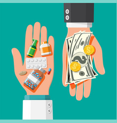 Hand with money and drugs vector