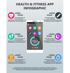 health and fitness application infographic vector image vector image