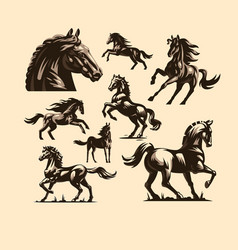 Horses in different poses vector