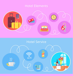 hotel elements and services flat poster vector image