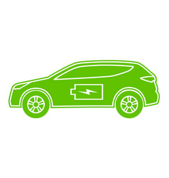 Hybrid car green icon electric powered vector