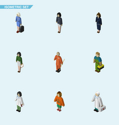 Isometric human set of cleaner girl pedagogue vector