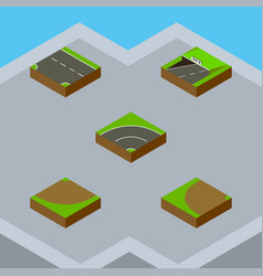 Isometric way set of bitumen turn subway and vector