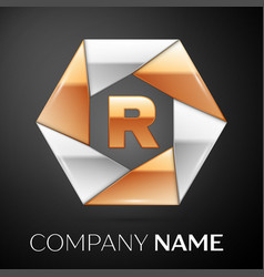 Letter r logo symbol in the colorful hexagon on vector